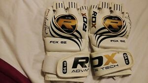 RDX MMA gloves, white gloves in red bag