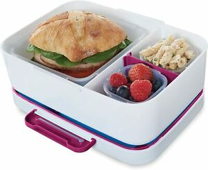 Rubbermaid LunchBlox Leak-Proof Meal Entree Container Kit w/ Case ~Beet Red ~NEW
