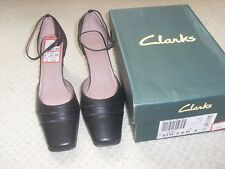 BNWT Clarks Fistral Black Leather Heel Shoes Size 4
