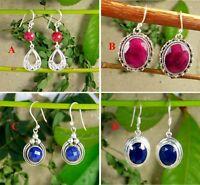 Ruby Sapphire Drop Earring 925 Sterling Silver Handmade Gemstone Jewelry ME3201