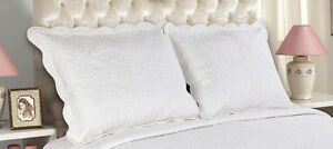 All For You-2 PC quilted pillow shams- king size-embroidery- 8 colors available