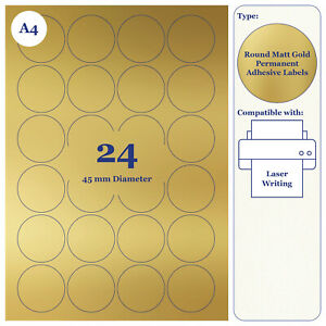 Gold Round Matt Paper Labels 45mm Diameter 20 A4 Sheets for Laser Printer