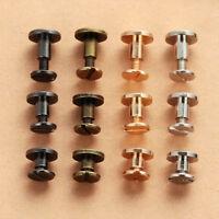 10Pcs 3 Size Flat Belt Screw Leather Craft Nail Brass Solid Rivet Stud Head