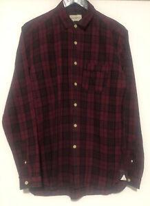 Oliver Spencer Mens Wellington Hester Red Check Shirt Size 16 Cotton/Linen