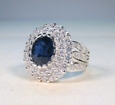 6.02 CTW BLUE & WHITE SAPPHIRE RING sz 7 - WHITE GOLD over 925 STERLING SILVER