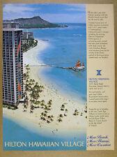 1984 Hilton Hawaiian Village waikiki beach resort hotel photo vintage print Ad