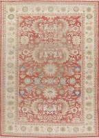 Vegetable Dye Oushak Floral Rug Hand-Knotted Wool Oriental Ushak Carpet 9x12