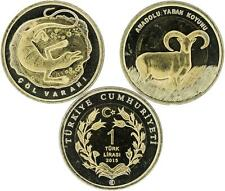 "Tuerkei 2 x 1 Lira 2015 ""Desert Monitor and Anatolian Wild Sheep"""