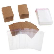 400pcs kraft paper ear hooks earring stud display cards & self adhesive bags