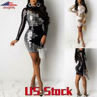 Women's Dress Long Sleeve Bodycon Sequins Plaids Color Block Party Cocktail US
