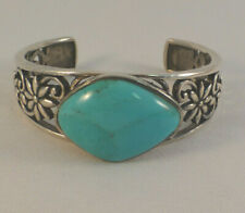 Barse Sterling & Turquoise Floral Cuff Bracelet