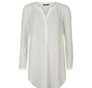 Only Nova Lux Solid Long Tunic Shirt Top Ivory Pale Cream Off White Size S New