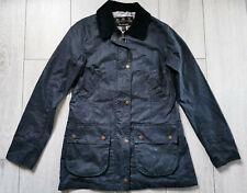 Barbour 12UK 38EU Vintage Advert Beadnell Distressed Wax Navy Jacket Ladies Coat