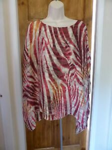 Pretty red and cream chiffon top from TU size 16