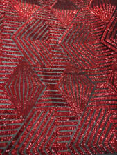"""DASH red on black mesh sequin Fabric by the yard, 54"""" Wide Lace, mesh, dress,"""