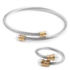 Gold Silver Stainless Steel Adjustable Cuff Bangle Ring Pearl jewellery Set