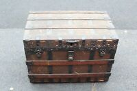 Antique Victorian Trunk Chest Signed FD Dillon Primitive Country FarmHouse Decor