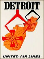 Detroit Michigan United Airlines Vintage Travel Advertisement Art Poster Print