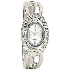 Beautiful Jeweled Silver Lady's Quartz Bracelet Watch by Navarre with Gift Pouch