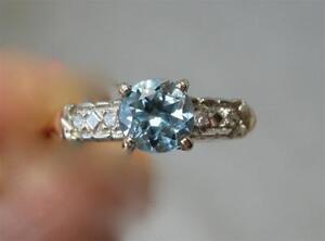 Acquamarina Diamante 14K Oro Fidanzamento Matrimonio Anello Art Déco Hollywood
