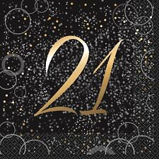 "16x Gold ""21"" Foil Stamped Luncheon Black Napkins 21st Birthday Anniversay Party"