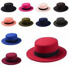 Men Women Vintage Boater Hat Sailor Wide Brim Fedora Felt Trilby Cap Flat-topped
