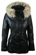 Ladies Real Leather Black Trench Hooded Raccoon Fur Winter Retro Jacket