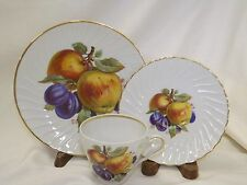 Old Nuremburg China Trio Cup Saucer Plate Fruit Design Apples Plums