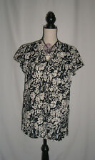 Matalan Ladies Size 14 Black and White Floral  Short Sleeve Shirt Blouse Top