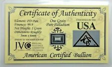 ACB Palladium BULLION MINTED 1GRAIN BAR 99.9 Pure PD SOLID With Certificate V261