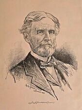 JEFFERSON DAVIS, CIVIL WAR, Rebel President Portrait, Vintage 1895 Antique Print