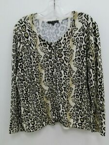 Pierri Ny Womens XL Leopard Button Down Long Sleeve Sweater Gold Beads B287