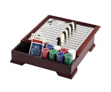 Horse Racing & Checker Game Wooden Storage Magnetic Pieces Deck Of Cards Dice