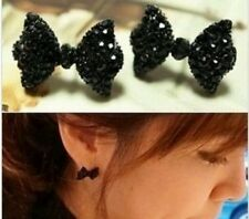 Crystal bow Women Little Stud Earrings Black Girls Jewelry Birthday Gift 825