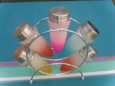 6-tlg. Gewürzständer  Gewürz-Regal Edelstahl ständer 5 Glas Streuer