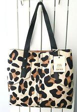 River Island Large Leather Leopard Animal Print Slouch Tote Handbag Bag BNWT