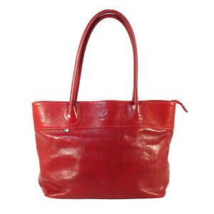 FLORENCE Wine Red Leather Tote Bag - Made in ITALY