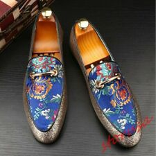 Mens Pointed Toe Glitter Sequins Slip On Casual Dress Shoes Floral Embroidery sz