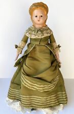 Antique German Wax Over Papier Mache Pumpkin Head Doll Spill Curl Hair