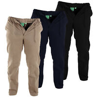 Men's Rugby Elasticated Waist Trousers Smart Plain Casual Work Trouser Pants