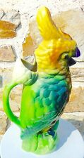 saint clément - slip - large pitcher - jug - parrot - earthenware