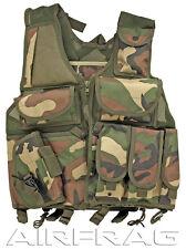VT096WL Camo Adjustable Tactical Vest w Holster, Internal Pockets & Bladder Pack