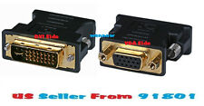 3pcs DVI-A and DVI-I Dual Link Male to HD15(VGA) Female Adapter - Gold Plated