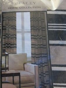 """D'Lacey Home AVON Lined Drapery Panel PAIR 108""""x102"""" Curtains IVORY BLACK STRIPE"""