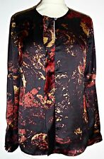 PAUL COSTELLOE patterned silky collarless shirt blouse top UK 12
