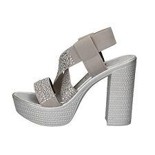 scarpe donna FASCINO DONNA 39 EU sandali grigio argento tessuto strass AE45-C