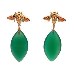 1.5'' Green Agate 18 K Gold Color Beetle Stud Earrings for women