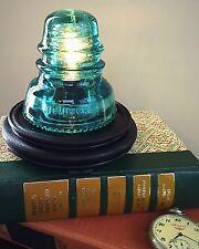 LED  Glass Insulator Lamp - Insulator light /  Blue Hemingray Vintage Railroad