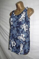 H2O ~ LADIES NAVY BLUE & WHITE FLORAL PRINT SKIRTED LOW LEG PADDED SWIMSUIT ~ 16