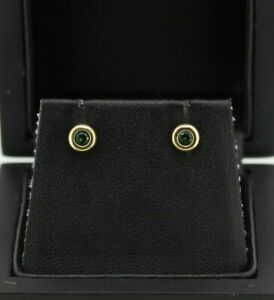9ct Yellow Gold 0.20ct Created Emerald Stud Earrings
